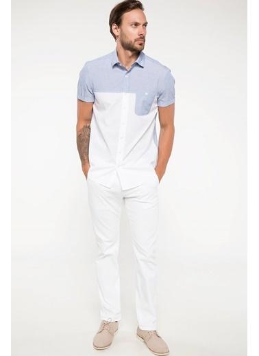 DeFacto Tek Cep Detaylı Slim Fit Kısa Kollu Gömlek Beyaz